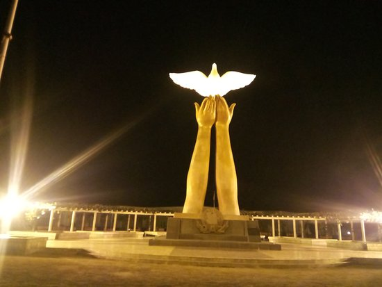Moxico Province, Angola: Monumento da Paz (night)
