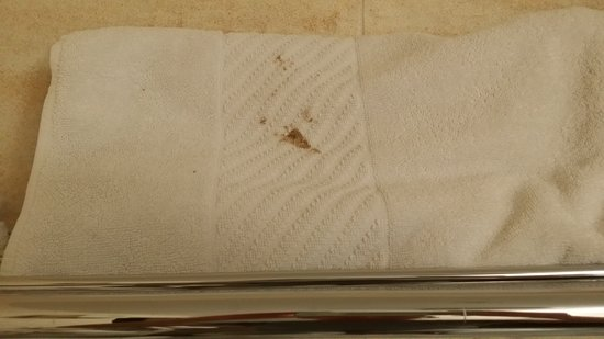 Epsom, New Zealand: stained bath towel was still used.