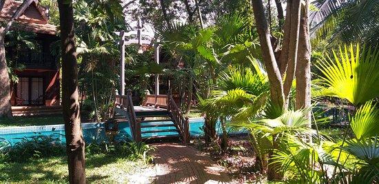 Chambre avec vue sur la piscine. La végétation permet de conserver une certaine intimité tout en bénéficiant de la lumière naturelle grâce aux larges baies vitrées