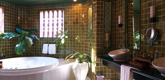 Qui n'aurait pas envie de se prélasser dans la baignoire-jacuzzi de cette très belle salle de bain qui de surcroit, dispose d'un toit de verre pour profiter de la lumière naturelle ou admirer le ciel étoilée la nuit tombée?