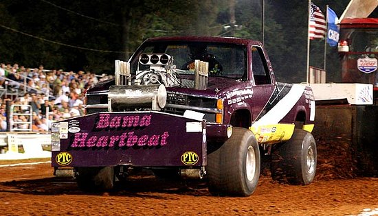Things get revved up as Bama Heartbeat takes the line at the Alabama Championship Tractor and Truck Pull in Tanner Alabama at the end of July.