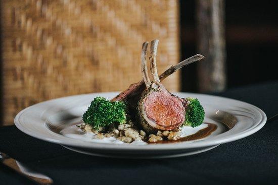 Emigrant, MT: Herb & dijon crusted rack of lamb, mustard spaetzle, broccolini and minted yogurt.