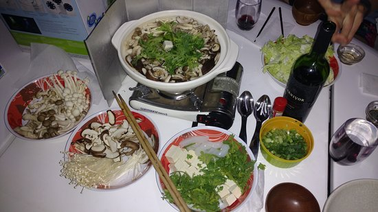 Abaco Islands: Japanese Nabe (Hot Pot) Dinner. This was the vegetarian version.
