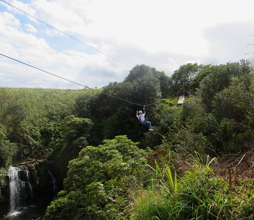Hilo Zipline over KoleKole Falls: Jim enjoying the ride past the first waterfall.