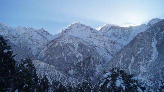 Rekong Peo, India: Morning view of Kinner Kailash Mountain ranges from, Reckong Peo. Kinnaur
