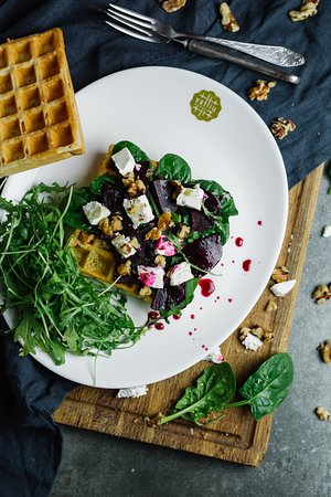Waffles with feta cheese