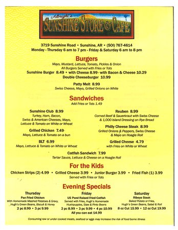 Royal, AR : Burgers, Sandwiches, Evening Specials