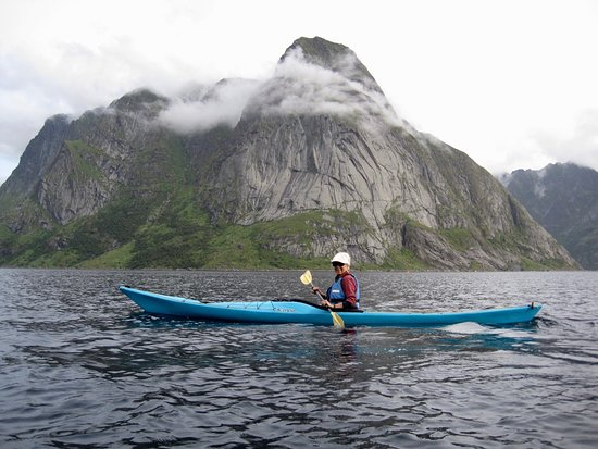 My guide Kaspar took this photo of me paddling the Reinefjord.