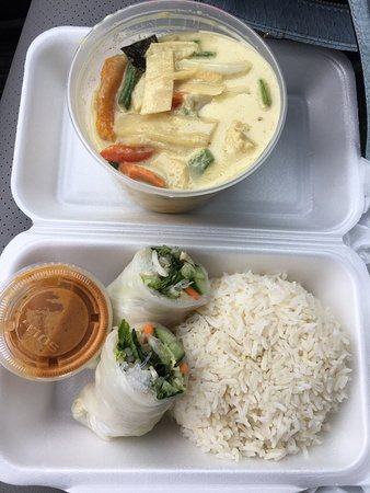 Yummy green curry with vegetables