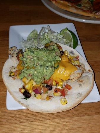 Excelsior, MN: Pizza Flatbread, Chicken Taco, Butternut Squash Soup, Meatball App & Beet Hummus.