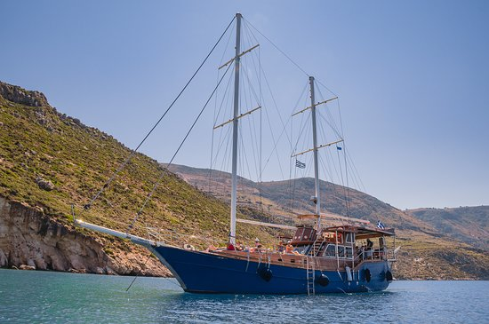 "Argostolion, Greece: Efplia is a traditional nineteen meter sailing boat, also known as a ""Turkish Gullet"""