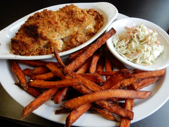 Barre, MA: A baked trio of haddock, shrimp, and scallops accompanied by sweet potato fries