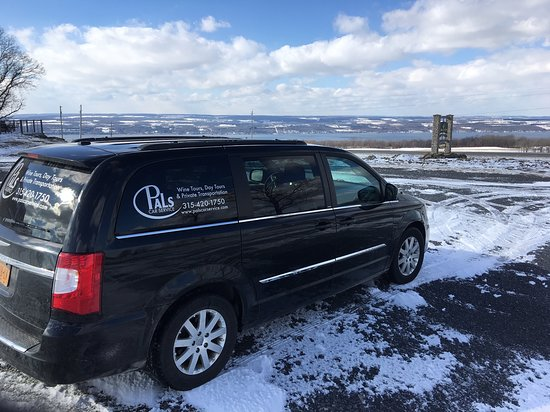 Penn Yan, นิวยอร์ก: Winter tours are always great! Icy day view of Seneca Lake from Idol Ridge Winery