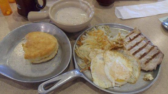 West Memphis, AR: Pork chop, biscuit, gravy, eggs and hash browns