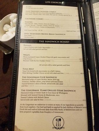 The Gingerman: menu