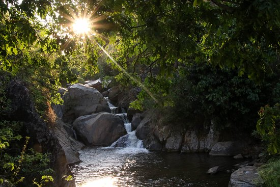 Nkhata Bay, Malawi: This waterfall is a one minute walk from the bar.