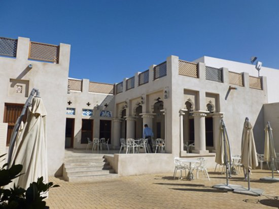 Kalba, United Arab Emirates: Inside the courtyard, restaurant is up the steps