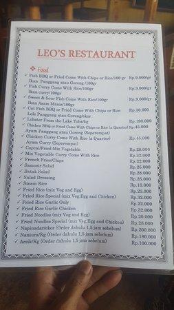 Tuktuk Siadong, Indonesien: Their menu (Page 01)