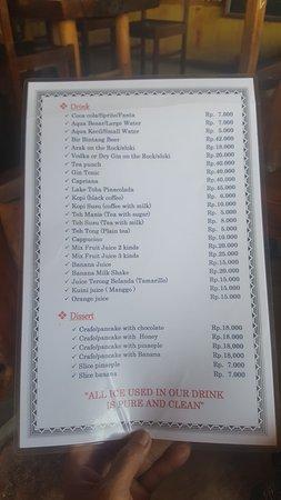 Tuktuk Siadong, Indonesien: Their menu (Page 02)