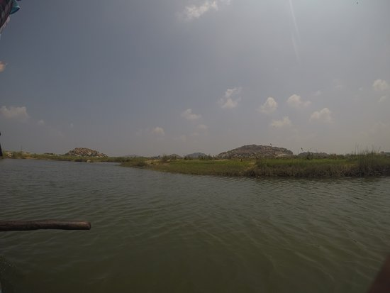 The spot from where we catch the boat to reach the island on which the Nava Vrindavan is located.