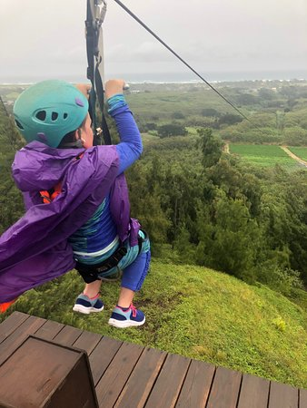 Awesome time today zip lining in the rain. Mark, Chan and Ryan were very helpful and helped us overcome our fears.