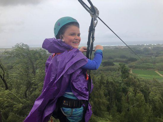 CLIMB Works Keana Farms: Awesome time today zip lining in the rain. Mark, Chan and Ryan were very helpful and helped us overcome our fears.