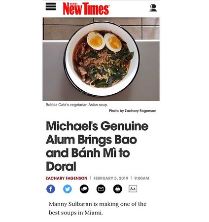 @miaminewtimes launch this story today about our new food featuring inspired dishes from east and Southeast Asia. Check the link on bio to read it. @zachisweird thanks.  #doral #doralfood #asianfood #bubbletea #boba #baobuns #banhmi #noodles #noodlesoup