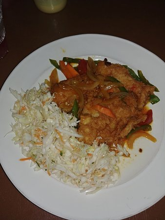 Fish fillets with brown stew sauce