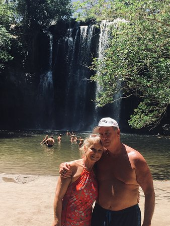 Chuck Judds and his wife Kathy enjoying a great moment in Llanos de Cortez waterfalls