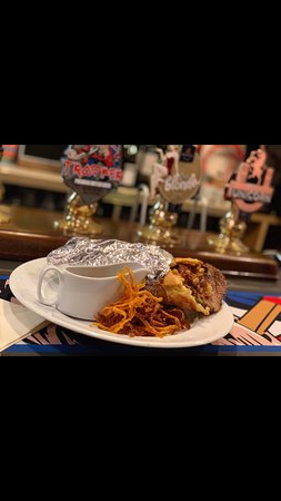 Sunday Special...  Giant Yorkshire Pudding Wrap Filled with a choice of one meat filling, toasted root veg and potatoes, cranberry stuffing, horseradish gravy dip & crispy carrots £7.75 or £9.95 with a pint of Carling or Smooth, a 125ml house wine or a draught Pepsi or lemonade!