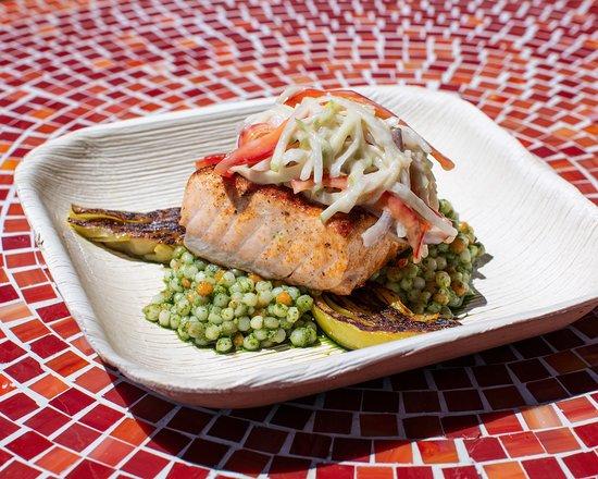 Salmon with pesto cous cous