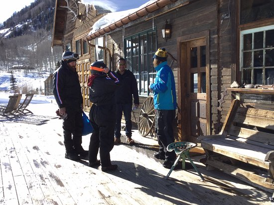 Telluride Outfitters: At Dunton getting ready to get back on our snowmobiles after the hot springs and lunch.
