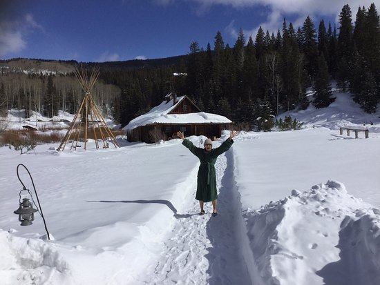 Telluride Outfitters: Coming from the hot springs bathhouse to lunch in one of the ultra thick bathrobes provided. They also provide slippers/