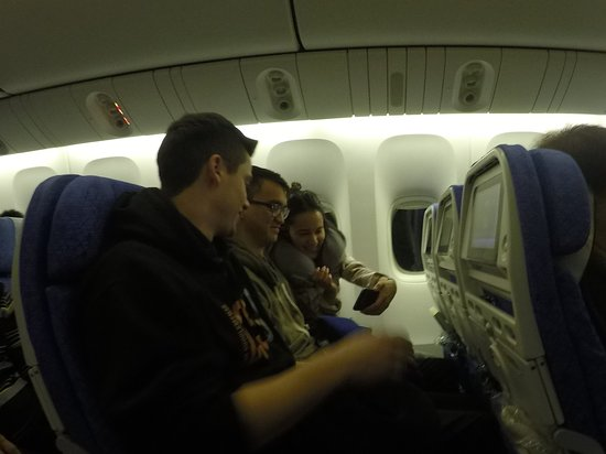 Taking a selfie on Cathay Pacific Airline flight
