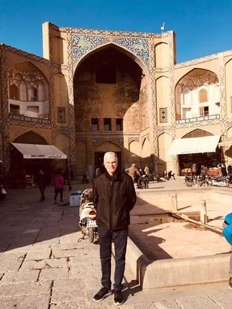 Arriving at the Grand Bazaar of Isfahan.