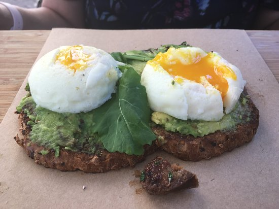....smashed avo & poached eggs on brown-seed bread