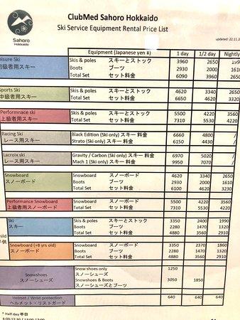 Price list of rental ski equipment