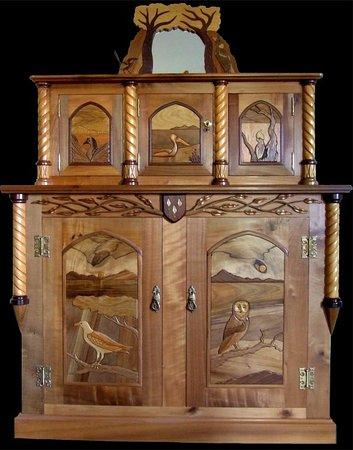 Windermere, Australia: Large Cabinet featuring birds from the Tamar Valley using mostly Tasmanian and other Australian timbers