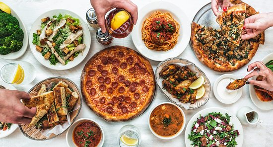 Pizza Party Spread.   www.amicis.com/catering