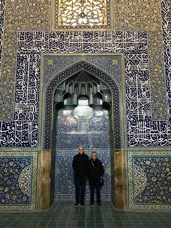 Beautiful tile works inside Sheikh Lotfollah Mosque in Isfahan.