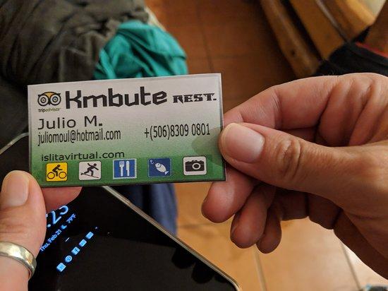 Kmbute Restaurante: Business card for owner