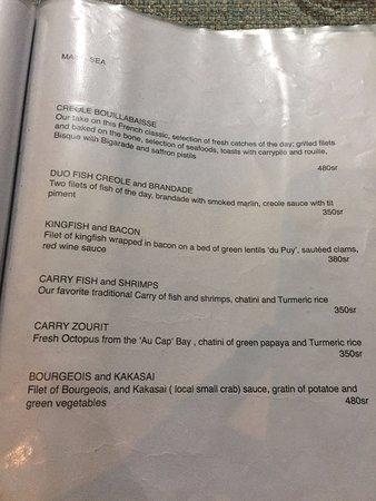 Au Cap, Seychelles: the menu