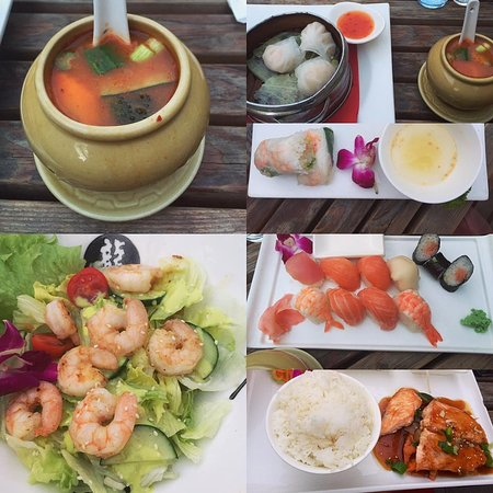 Picture Compilation, Hot Spicy Thai Soup, Matcha Green Tea Salad, Dim Sum, Steamed Prawns with RiceFlour = glutenfree, Sushi and perfect grilled fresh Salmon filet with Teriyaki Sauce and a bowl of Jasmine Rice