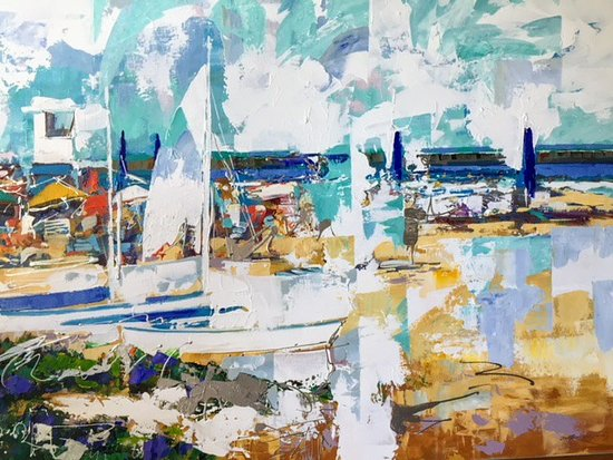 """Galerie Porte Rouge: """"Delray Beach Florida"""" 36x48 Christian Bergeron Painting Sold at Art on Duval Gallery, Key West."""