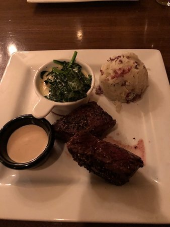 Swiftwater, PA: hanger steak (peppercorn crust optional), HOP sauce, creamed spinach, potatoes
