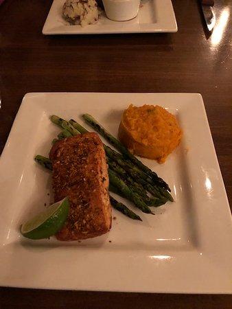 Swiftwater, PA: salmon, asparagus, jalapeno sweet potato mash