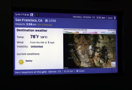 United Airlines: UA1098 PHX to SFO - Gate 3 in T2 PHX - Weather for Flight