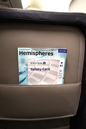 United Airlines: UA1098 PHX to SFO A319 First Class Seat 2F - Seatback Pocket