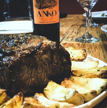 Good wine, great sirloin steak roasted in chimichurri