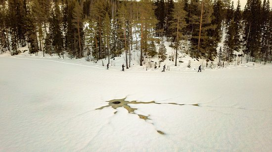 מחוז ווסטרנורלנד, שוודיה: Sneeuwschoen wandeling op het Llotjärnarna meer in Boteå Västernorrland. Kijk voor meer info en foto's op onze vernieuwde website. www.fieldssweden.com